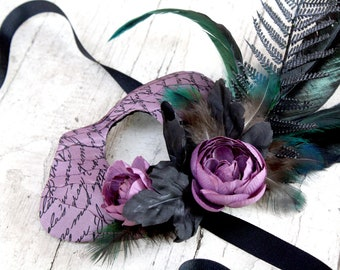 Leota - Haunted Mansion Inspired Masquerade Ball Mask in Mauve Purple and Ghoulish Green - OOAK