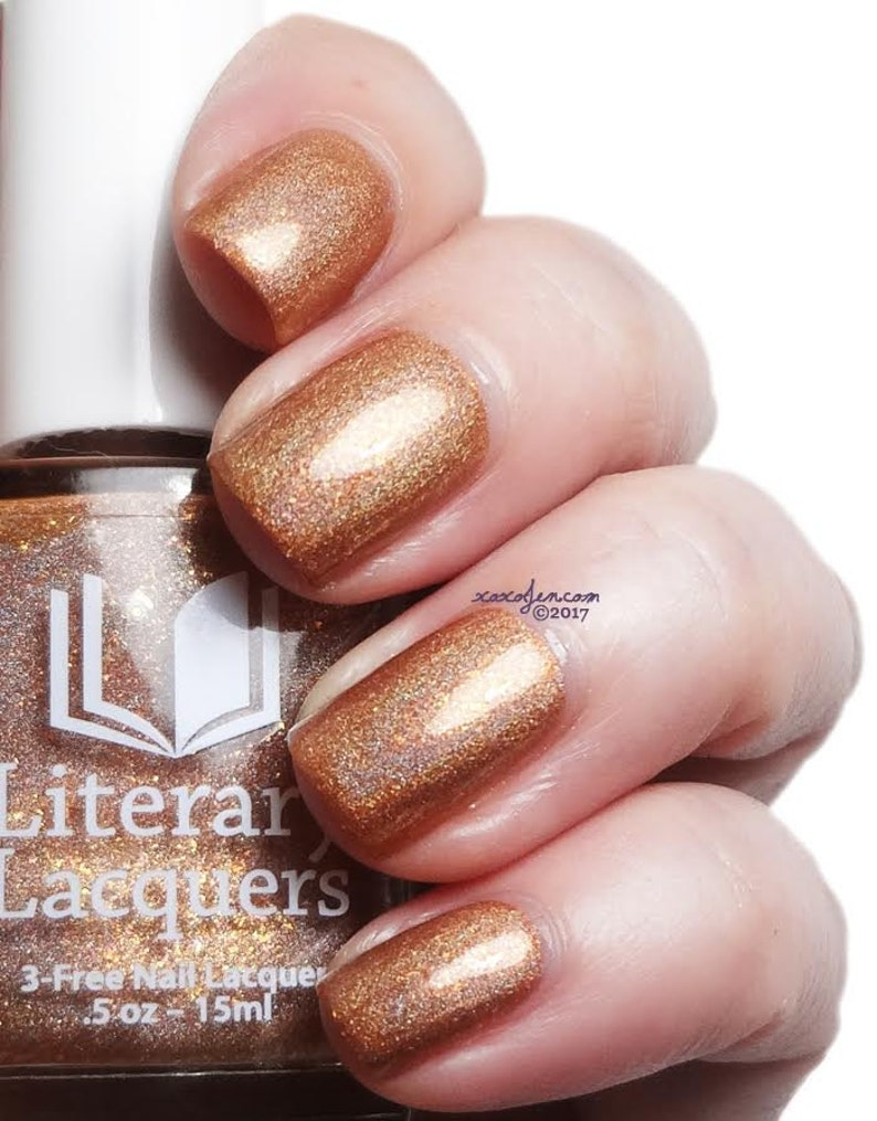 Amortentia  Champagne Rose Gold Linear Holographic Nail image 0