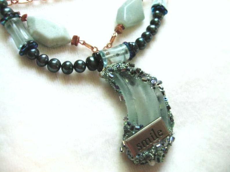 Surfs Up .. #100 copper .. Triple strand natural amazonite seaglass pendant fwp