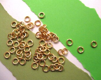 Jumprings 5 mm/18 gauge in Gold from Garlan Chain - 50 Count