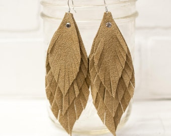 """4 1/2"""" recycled, leather feather earrings, leaf earrings, boho earrings, dangle earrings, feather earrings, tassel earrings, stacylynnc"""