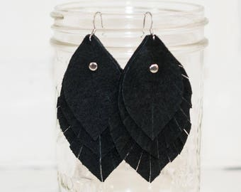 """3 1/2"""", recycled, black suede feather earrings, leaf earrings, boho earrings, dangle earrings, feather earrings, tassel earrings, stacylynnc"""