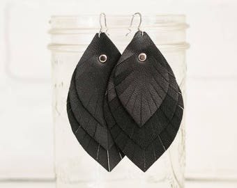 """3 1/2"""", recycled, leather feather earrings, leaf earrings, boho earrings, dangle earrings, feather earrings, tassel earrings, stacylynnc"""