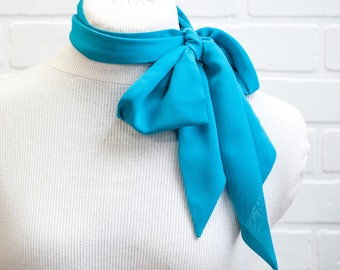 skinny scarf, turquoise skinny scarf, thin blue scarf, thin scarf, skinny neck scarf, head scarf, bow scarf, handmade, stacylynnc, scarf