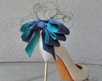 2 Teal Triple Bow Clips for Shoes other colours on request
