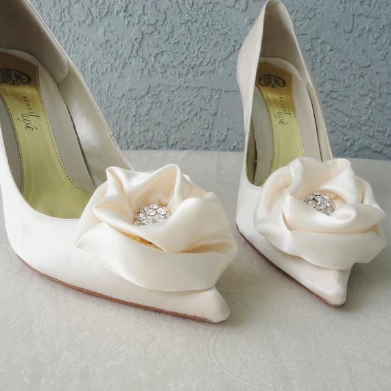 e1e5a282c21c Wedding Bridal Ivory Satin Rose And Rhinestone Shoe Clips More
