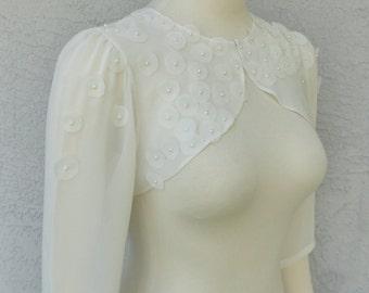 Wedding Bolero Shrug Ivory Chiffon Embellished or Plain With Hand Sewn Chiffon Circle and Beads 3/4 Sleeves