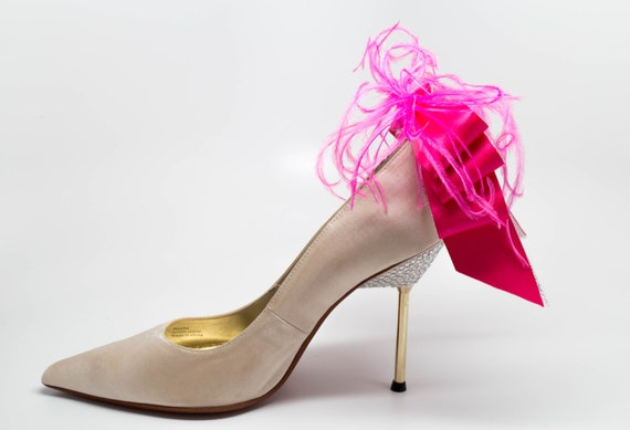 Bridal Formal Sexy Shoe Clips Hot Pink And Silver Satin Etsy