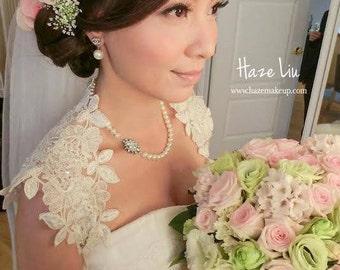Beautiful Wedding Bridal Ivory or White Beaded Lace Keyhole Back Bolero Shrug Jacket. Made to order.