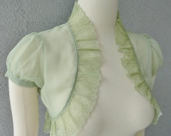 Wedding Bolero Shrug Green Meadow Chiffon  With  Lace Trim All Sizes Available Custom Made