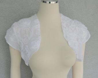 Bridal Wedding Bolero Shrug David Tutera White Chiffon Fabric Ribbon Rose