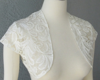 Bridal Wedding Bolero Shrug Ivory Lace Ribbon Fabric MADE TO ORDER