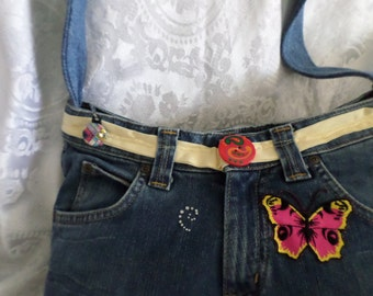 Pink and yellow up cycled denim shoulder bag butterfly's,gem hearts,gem swirls, flowers 14x9