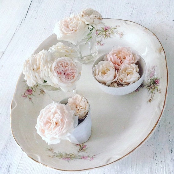 Antique floral platter with shabby chic French Nordic style from My Petite Maison on Etsy.