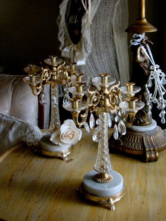 Vintage Italian candelabra with crystals