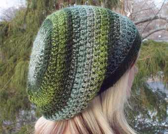 Striped Green Slouchy Beanie, Womens Crochet Hat, Boho Slouchy Hat Oversized Slouch Beanie, Hipster Hat, Slouch Hat, Baggy Beanie