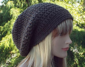 Dark Brown Slouchy Beanie, Womens Crochet Hat, Oversized Slouch Beanie, Baggy Beanie, Chunky Hat, Slouchy Hat, Winter Hat Slouch Hat