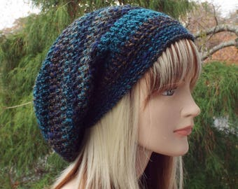 Blue and Brown Slouchy Beanie, Womens Crochet Hat, Boho Slouchy Hat, Oversized Slouch Beanie, Hipster Hat, Slouch Hat, Baggy Beanie