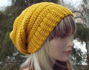 Golden Yellow Crochet Hat, Womens Slouchy Beanie, Boho Slouchy Hat, Oversized Slouch Beanie, Chunky Hat, Winter Hat, Mustard Slouch Hat