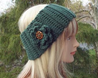 Pine Green Ear Warmer, Crochet Headband with Flower, Head Wrap, Womens Ski Band, Chunky Earwarmer, Winter Headband, Gift for Her
