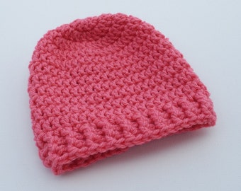 Newborn Crochet Hat, Melon Pink Beanie, Baby Hat, Infant Photo Prop, Coming Home Hat, Baby Girl Hat, Baby Gift, Ready to Ship