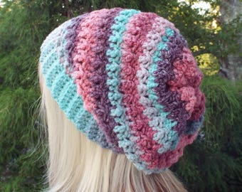 Pink Purple and Aqua Crochet Hat, Womens Slouchy Beanie, Oversized Slouch Beanie, Chunky Hat, Slouchy Hat, Winter Hat, Multicolor Slouch Hat