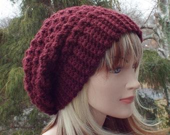 2d3a4b1a271 Oxblood wine crochet hat
