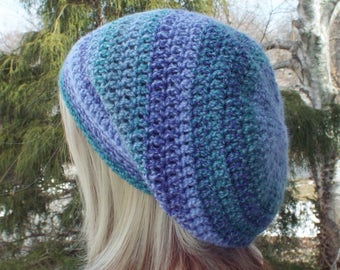 Purple and Green Slouchy Beanie, Womens Crochet Hat, Boho Slouchy Hat, Oversized Slouch Beanie, Hipster Hat, Slouch Hat, Baggy Beanie