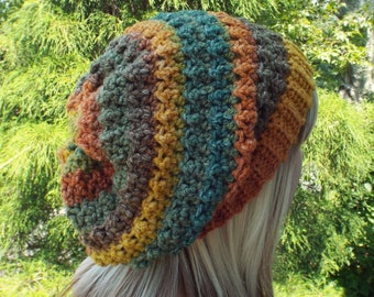 Olive Rust and Gold Crochet Hat, Womens Slouchy Beanie, Oversized Slouch Beanie, Chunky Hat, Slouchy Hat, Winter Hat, Multicolor Slouch Hat