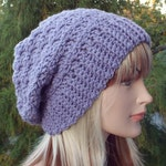 Dusty Lilac Purple Crochet Hat, Womens Slouchy Beanie, Oversized Slouch Beanie, Chunky Hat, Slouch Hat, Winter Hat, Slouchy Hat