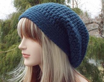 Dark Denim Blue Slouchy Beanie, Womens Crochet Hat, Oversized Slouch Beanie, Chunky Hat, Baggy Beanie, Slouchy Hat, Winter Hat, Slouch Hat