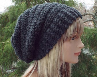Charcoal Gray Crochet Hat, Womens Slouchy Beanie, Boho Slouchy Hat, Oversized Slouch Beanie, Chunky Hat, Winter Hat, Slouch Hat
