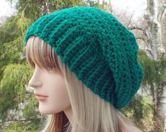 Emerald Green Crochet Hat, Womens Slouchy Beanie, Slouchy Hat, Oversized Slouch Beanie, Chunky Hat, Winter Hat, Slouch Hat, Wool Beanie