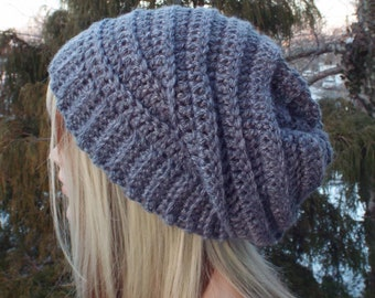 Misty Gray Crochet Hat, Womens Slouchy Beanie, Boho Slouchy Hat, Oversized Slouch Beanie, Chunky Hat, Winter Hat, Slouch Hat