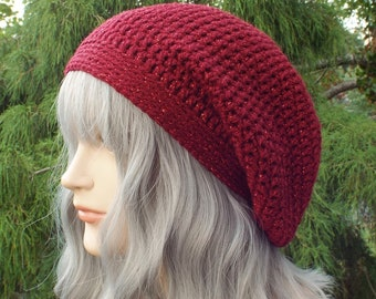 Dark Cranberry Sparkle Slouchy Beanie, Womens Crochet Hat, Slouch Beanie, Oversized Slouch Hat, Baggy Beanie, Dark Red Slouchy Hat