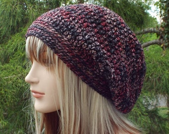 Red and Black Slouchy Beanie, Womens Crochet Hat, Oversized Slouch Beanie, Hipster Hat, Slouch Hat, Baggy Beanie, Slouchy Hat