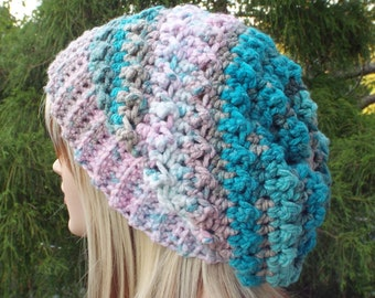 Crochet Hat in Cotton Candy, Womens Slouchy Beanie, Oversized Slouch Beanie, Slouchy Hat, Winter Hat, Multicolor Slouch Hat, Chunky Hat