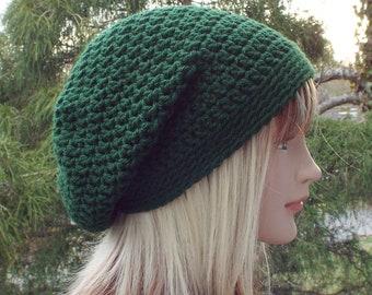 Dark Green Slouchy Beanie, Womens Crochet Hat, Oversized Slouch Beanie, Baggy Beanie, Slouchy Hat, Winter Hat, Slouch Hat