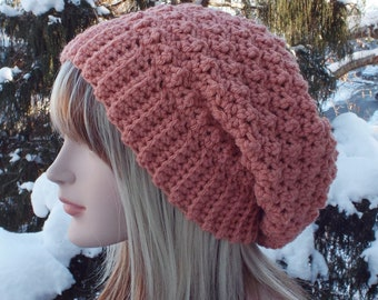 Vintage Pink Crochet Hat, Womens Slouchy Beanie, Slouchy Hat, Oversized Slouch Beanie, Chunky Hat, Winter Hat, Slouch Hat