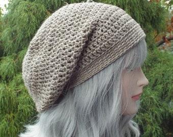 Taupe Tweed Slouchy Beanie, Womens Crochet Hat, Slouch Beanie, Oversized Hipster Hat, Slouch Hat, Baggy Beanie, Boho Slouchy Hat