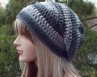 Shades of Gray Slouchy Beanie, Womens Crochet Hat, Oversized Slouch Beanie, Chunky Hat, Slouchy Hat, Winter Hat, Grey Slouch Hat