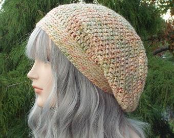 Citrus Tweed Slouchy Beanie, Womens Crochet Hat, Slouch Beanie, Oversized Hipster Hat, Slouch Hat, Baggy Beanie, Slouchy Hat