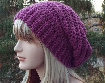 Plum Purple Crochet Hat, Womens Slouchy Beanie, Boho Slouchy Hat, Oversized Slouch Beanie, Chunky Hat, Winter Hat, Slouch Hat