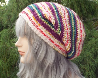 Rainbow Stripe Slouchy Beanie, Womens Crochet Hat, Slouchy Hat, Oversized Slouch Beanie, Hipster Hat, Striped Slouch Hat, Baggy Beanie