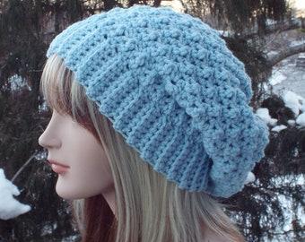 Soft Blue Crochet Hat, Womens Slouchy Beanie, Slouchy Hat, Oversized Slouch Beanie, Chunky Hat, Winter Hat, Light Blue Slouch Hat