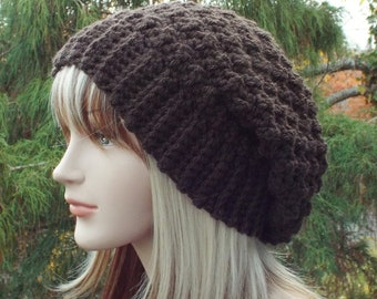 Dark Brown Crochet Hat, Womens Slouchy Beanie, Slouchy Hat, Oversized Slouch Beanie, Chunky Hat, Winter Hat, Slouch Hat