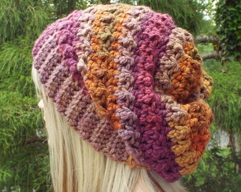 Crochet Hat in Autumn Sky, Womens Slouchy Beanie, Oversized Slouch Beanie, Slouchy Hat, Winter Hat, Multicolor Slouch Hat, Chunky Hat