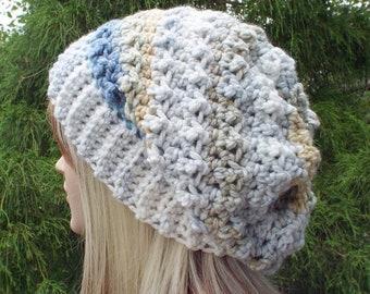 Crochet Hat in Seaside, Womens Slouchy Beanie, Oversized Slouch Beanie, Slouchy Hat, Winter Hat, Multicolor Slouch Hat, Chunky Hat