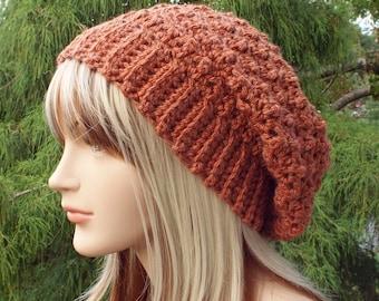 Burnt Orange Crochet Hat, Womens Slouchy Beanie, Slouchy Hat, Oversized Slouch Beanie, Chunky Hat, Winter Hat, Rust Slouch Hat