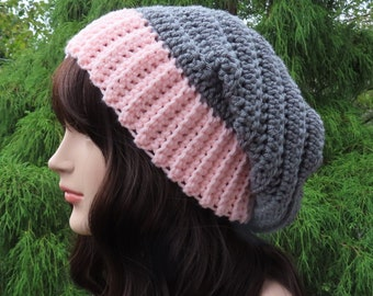 Slate Gray and Light Pink Slouchy Hat, Womens Slouchy Beanie, Crochet Hat, Oversized Slouch Beanie, Winter Hat, Two Tone Slouch Hat